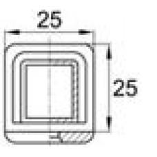 Опора пластиковая внутренняя торцевая для труб квадратного сечения с наружными размерами сечения 25х25 мм и толщиной стенки трубы 1.5-2 мм