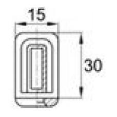 Наконечник пластиковый под трубу прямоугольного сечения с внешними габаритами 30х15 мм, толщина стенки трубы 1.5-2 мм