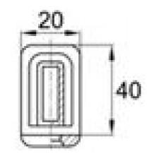 Наконечник пластиковый под трубу прямоугольного сечения с внешними габаритами 40х20 мм, толщина стенки трубы 1.5-2 мм