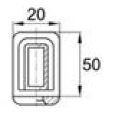 Наконечник пластиковый под трубу прямоугольного сечения с внешними габаритами 50х20 мм, толщина стенки трубы 1.5-2 мм