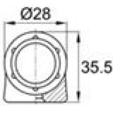 Наконечник пластиковый под трубу круглого сечения с внешним диаметром 28мм, толщина стенки трубы 2 мм