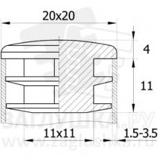 Заглушка пластиковая квадратная 20х20, практичная, чёрная