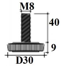 Опора D30 M8x40 мм черная