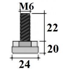 Опора D24 M6x20 мм черная