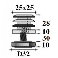 Заглушка с опорой 25х25 черная