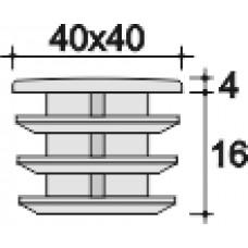 Заглушка пластиковая внутренняя с ребрами и металлической резьбой М8 для труб квадратного сечения 40х40 мм.