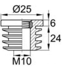 Заглушка пластиковая внутренняя с металлической резьбой М10 для круглых труб Ø25 мм и стенкой 1.0-2.0 мм.